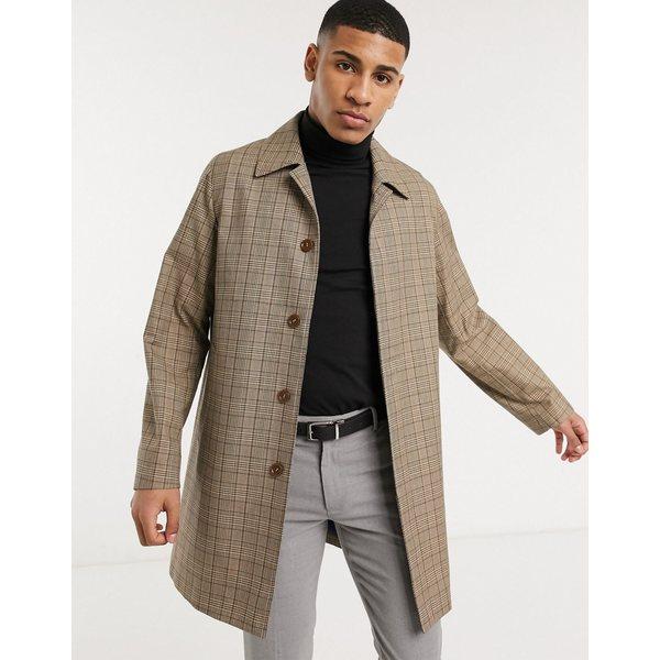ジアーフラウド メンズ コート アウター Gianni Feraud checked raincoat Brown