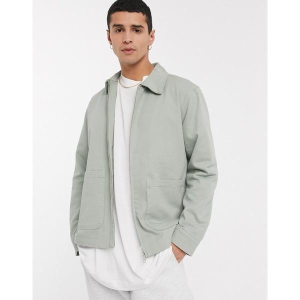 ウィークデイ メンズ ジャケット&ブルゾン アウター Weekday Camp washed jacket in beige Beige/mint