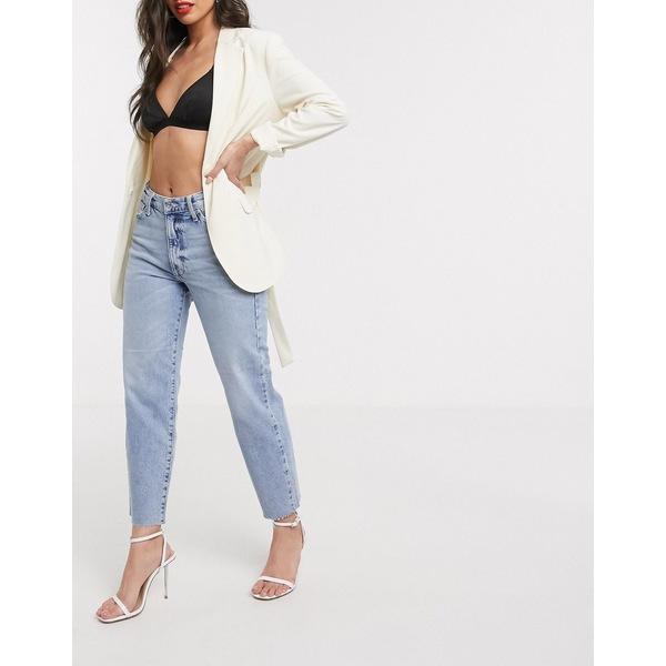 リバーアイランド レディース デニムパンツ ボトムス River Island straight leg jeans in mid authentic blue Mid authentic