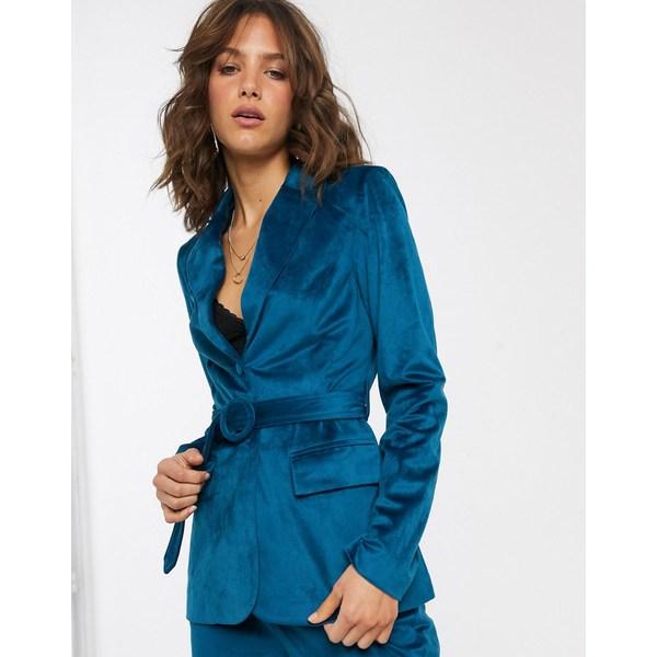 ファッションモンキー レディース ジャケット&ブルゾン アウター Fashion Union tailored blazer with belted waist in teal velvet Blue teal velvet
