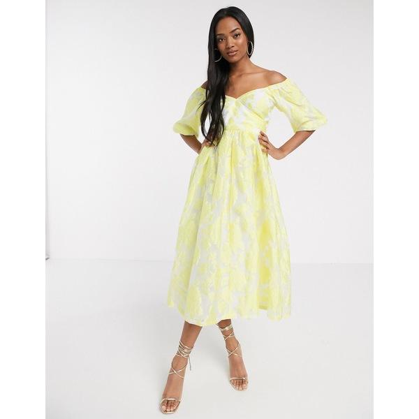 エイソス レディース ワンピース トップス ASOS DESIGN puff sleeve midi dress in floral organza with lace up back in yellow Yellow