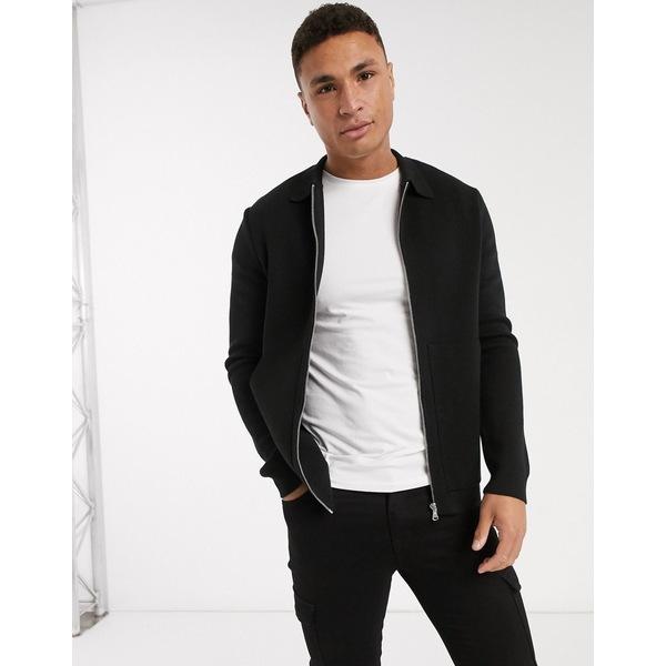 リバーアイランド メンズ シャツ トップス River Island long sleeve knitted overshirt in black Black