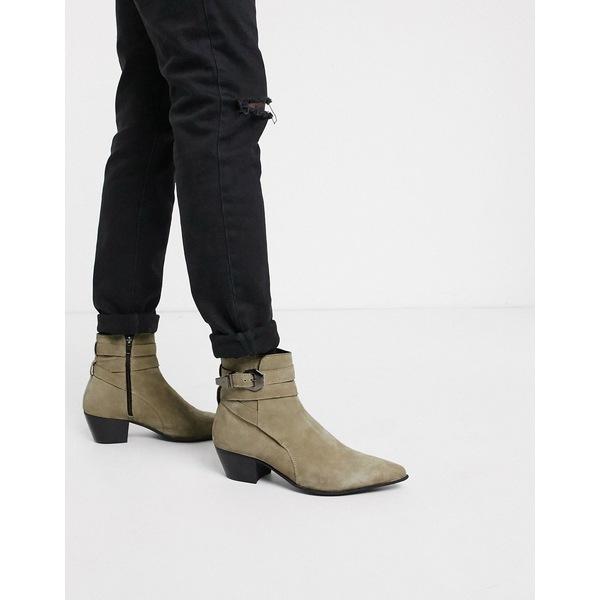 エイソス メンズ ブーツ&レインブーツ シューズ ASOS DESIGN stacked heel western chelsea boots in stone suede Stone