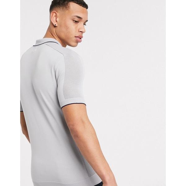 リバーアイランド メンズ ポロシャツ トップス River Island knitted polo in gray Gray