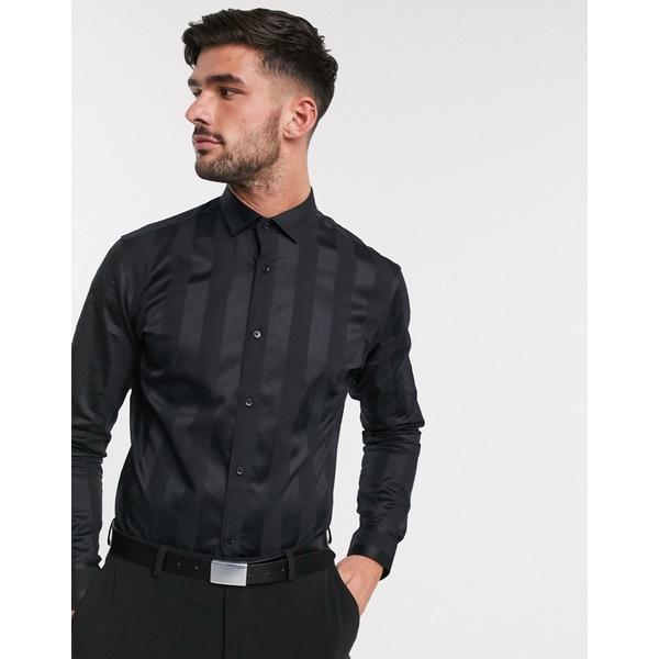ジャック アンド ジョーンズ メンズ シャツ トップス Jack & Jones Premium satin tonal stripe smart shirt in black Black
