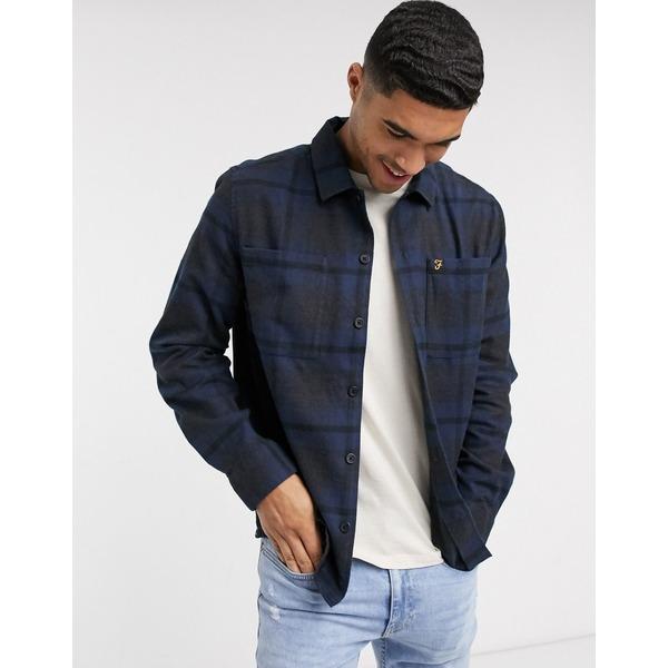 ファーラー メンズ シャツ トップス Farah Ramonal check long sleeve shirt Blue