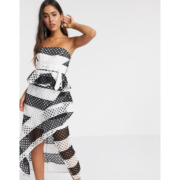 エイソス レディース ワンピース トップス ASOS DESIGN bandeau mono stripe lace midi pencil dress in monochrome Mono