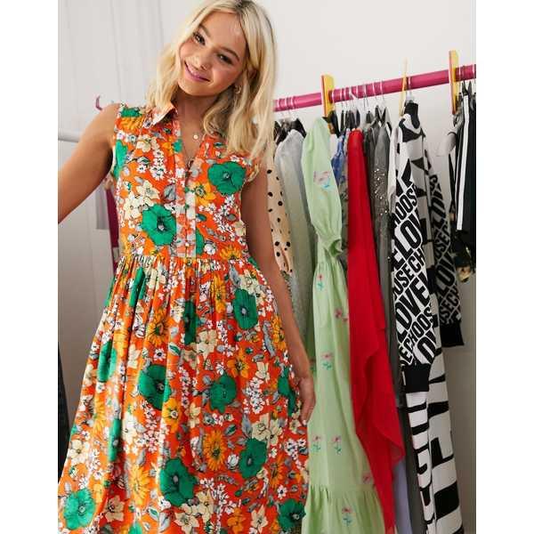 フレンチコネクション レディース ワンピース トップス French Connection sleeveless floral mini shirt dress Sunshine orange
