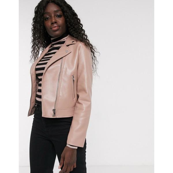 エイソス レディース ジャケット&ブルゾン アウター ASOS DESIGN ultimate faux leather biker jacket in pink Pink