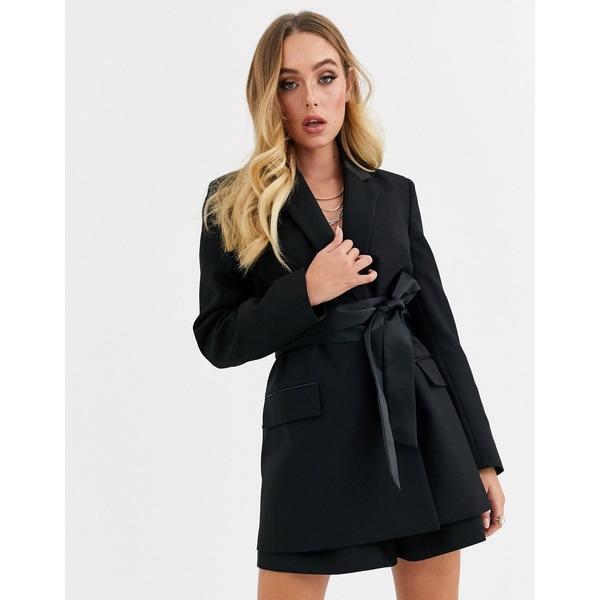 エイソス レディース ジャケット&ブルゾン アウター ASOS DESIGN wrap belted tux suit blazer Black