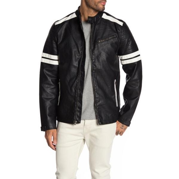 エックスレイ メンズ ジャケット&ブルゾン アウター Faux Leather Striped Jacket BLACK