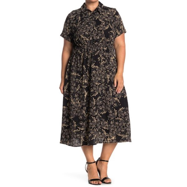 ロンドンタイムス レディース ワンピース トップス Scroll Floral Smocked Waist Midi Shirt Dress BLK/CAMEL