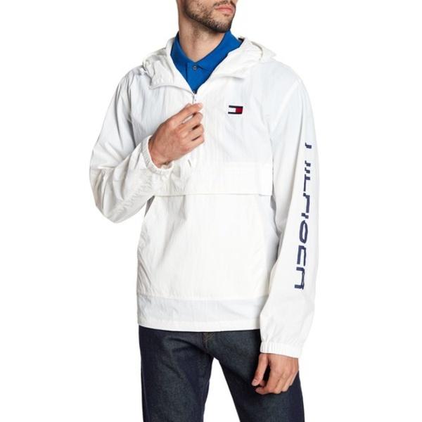 トミー ヒルフィガー メンズ ジャケット&ブルゾン アウター Taslan Retro Half-Zip Hooded Pullover WHITE