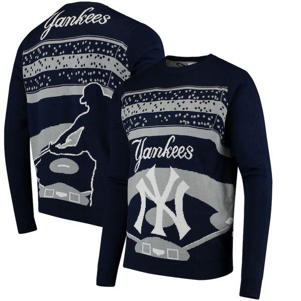 フォコ メンズ シャツ トップス New York Yankees Light Up Crew Neck Sweater Navy