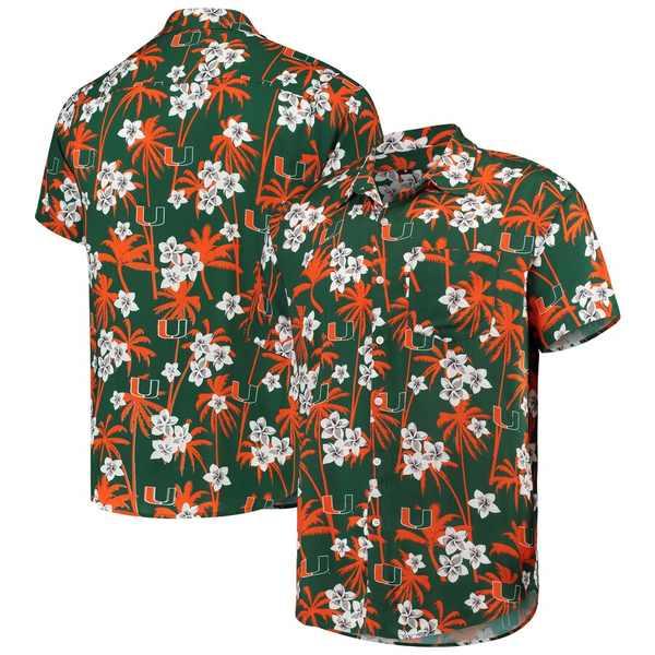 フォコ メンズ シャツ トップス Miami Hurricanes College Floral Button-Up Shirt Green