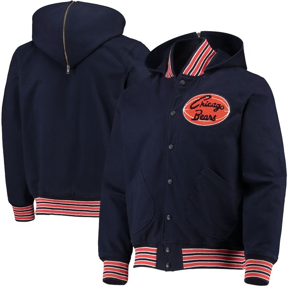 ミッチェル&ネス メンズ ジャケット&ブルゾン アウター Chicago Bears Mitchell & Ness 100th Season Fanfest Hooded Full-Snap Jacket Navy