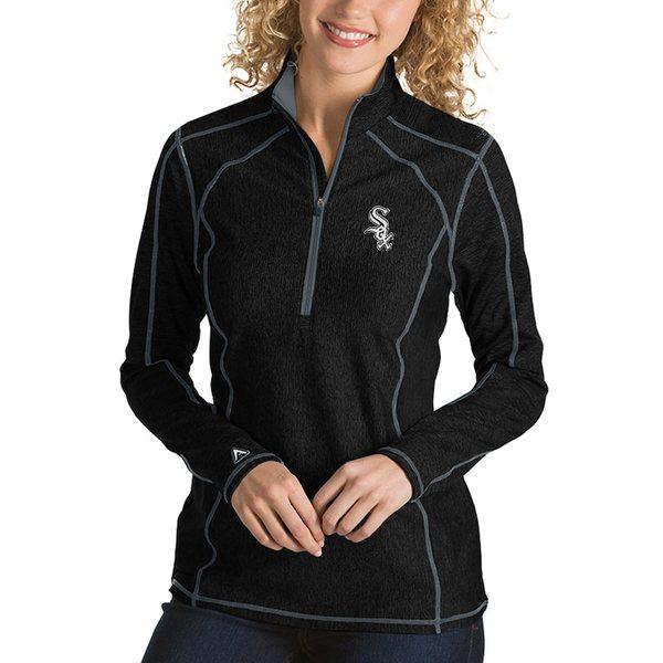 アンティグア レディース ジャケット&ブルゾン アウター Chicago White Sox Antigua Women's Tempo Desert Dry 1/4-Zip Pullover Jacket Heathered Black