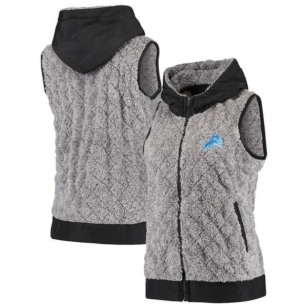 アンティグア レディース ジャケット&ブルゾン アウター Detroit Lions Antigua Women's Fame Hooded Full-Zip Vest Heathered Gray