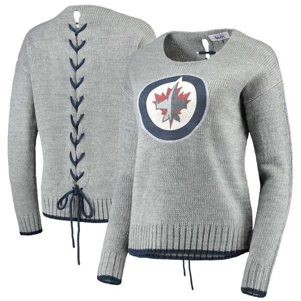アリッサミラノ レディース シャツ トップス Winnipeg Jets Touch by Alyssa Milano Women's All Laced Up Sweater Gray