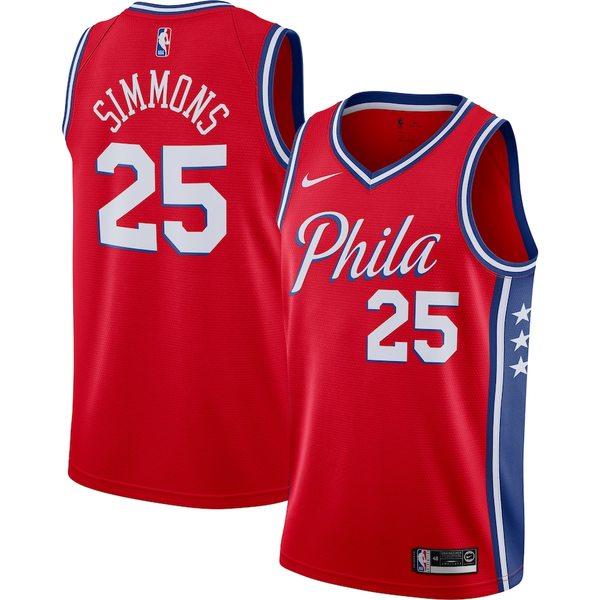 ナイキ メンズ シャツ トップス Ben Simmons Philadelphia 76ers Nike Finished Swingman Jersey Red Statement Edition