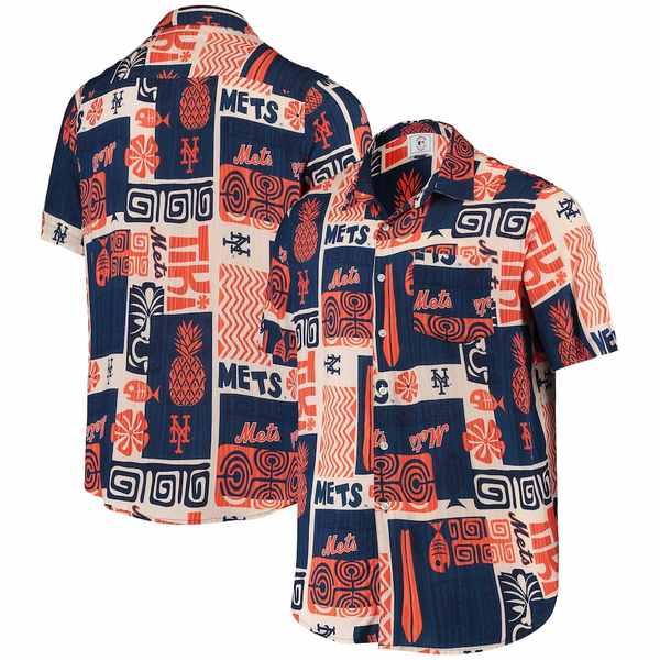 フォコ メンズ シャツ トップス New York Mets Tiki Button-Up Shirt Royal