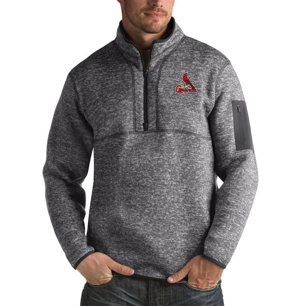 アンティグア メンズ ジャケット&ブルゾン アウター St. Louis Cardinals Antigua Fortune Big & Tall Quarter-Zip Pullover Jacket Heather Charcoal