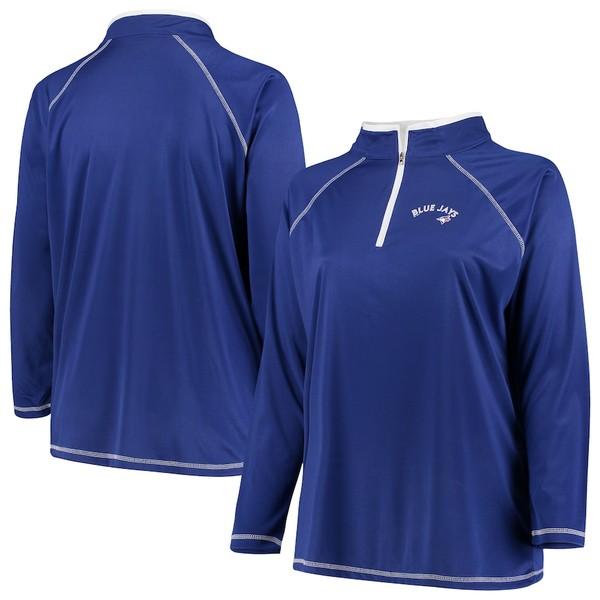 マジェスティック レディース ジャケット&ブルゾン アウター Toronto Blue Jays Majestic Women's Plus Size Quarter-Zip Pullover Jacket Royal