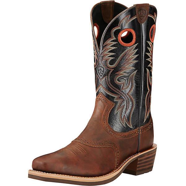 アリアト メンズ ブーツ&レインブーツ シューズ Ariat Men's Heritage Roughstock Boot Bar Top Brown / Shiny Black