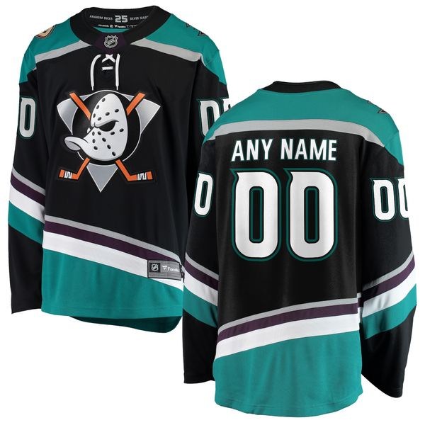 ファナティクス メンズ ユニフォーム トップス Anaheim Ducks Fanatics Branded Alternate Breakaway Custom Jersey Black