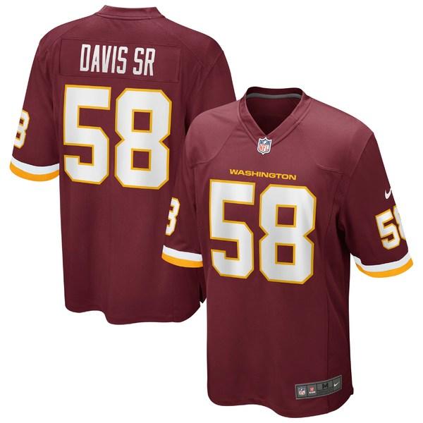 ナイキ メンズ ユニフォーム トップス Thomas Davis Sr. Washington Football Team Nike Game Player Jersey Burgundy