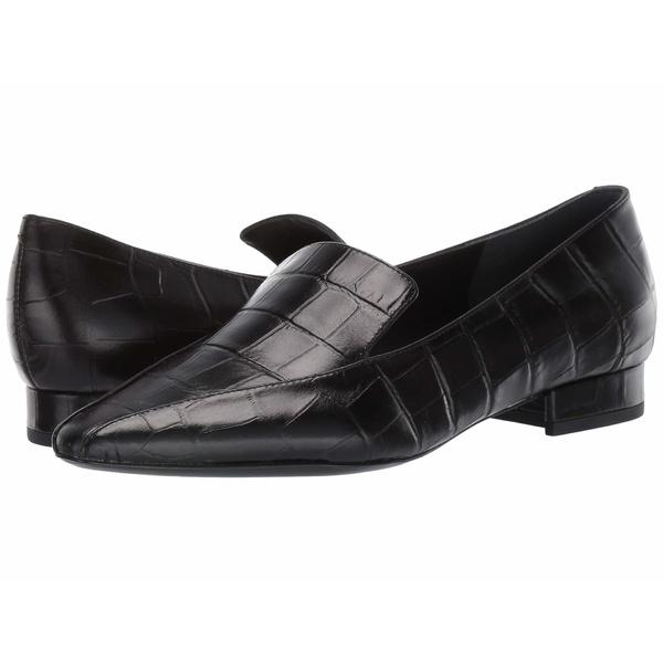 シガーソン モリソン レディース スリッポン・ローファー シューズ Calida Black Croc Print Leather
