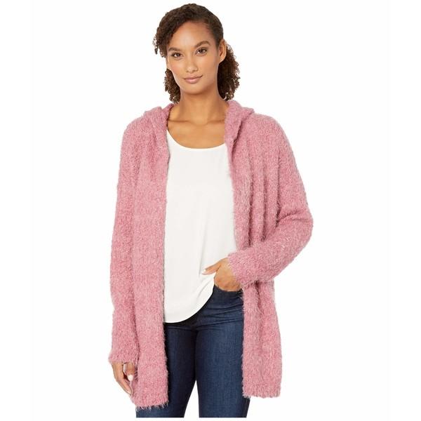 トリバル レディース ニット&セーター アウター Long Sleeve Hood Sweater Cardigan Rose