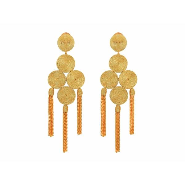 オスカー デ ラ レンタ レディース ピアス&イヤリング アクセサリー Embroidered Tassel C Earrings Gold