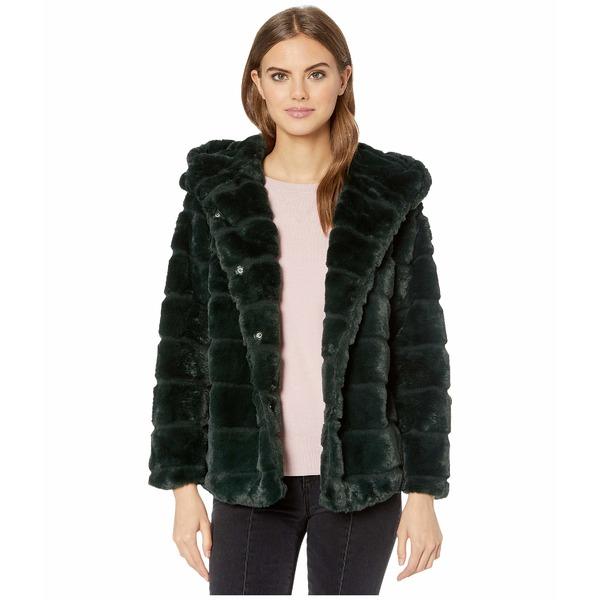 アッパリス レディース コート アウター Goldie 3 Hooded Faux Fur Coat Emerald