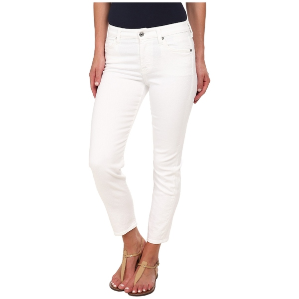 7フォーオールマンカインド レディース デニムパンツ ボトムス Kimmie Crop in Clean White Clean White