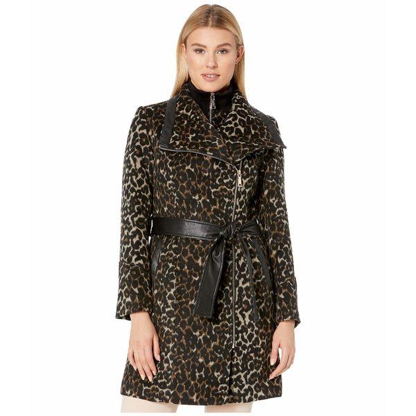 ヴィンスカムート レディース コート アウター Belted Asymmetrical Zip Wool Coat with Bib V29763A Leopard