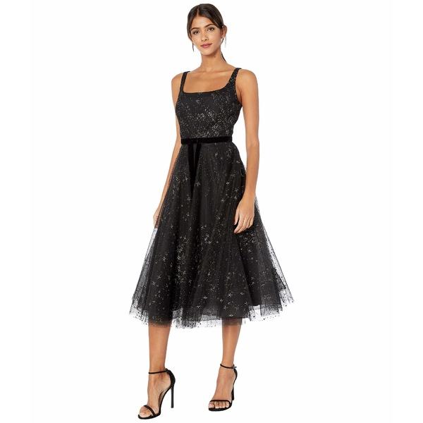 マルケサノット レディース ワンピース トップス Sleeveless Glitter Tulle Tea-Length Gown w/ Velvet Ribbon Waist Trim Black