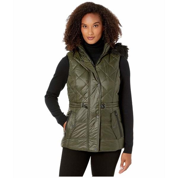 マイケルコース レディース コート アウター Active Vest with Faux Fur Trim Hood A421030TZ Olive