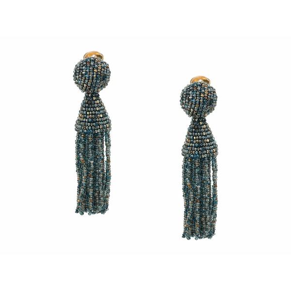 オスカー デ ラ レンタ レディース ピアス&イヤリング アクセサリー Short Beaded Tassel C Earrings Blue