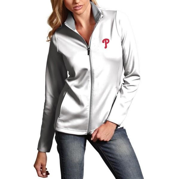 アンティグア レディース ジャケット&ブルゾン アウター Philadelphia Phillies Antigua Women's Leader Full-Zip Jacket White