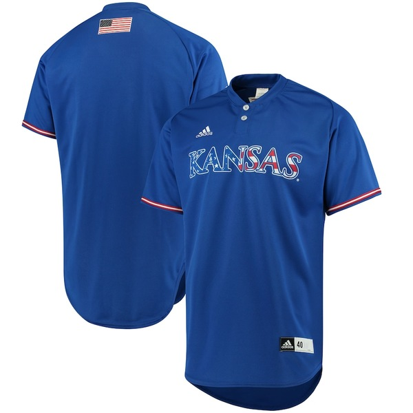 アディダス メンズ シャツ トップス Kansas Jayhawks adidas Authentic Baseball Jersey Royal