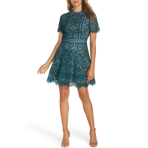 ビービーダコタ レディース ワンピース トップス BB Dakota On List Short Sleeve Lace Fit & Flare Dress Evergreen