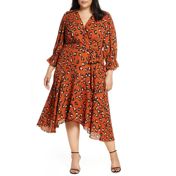 タハリ レディース ワンピース トップス Tahari Faux Wrap Midi Dress (Plus Size) Spiced Leopard