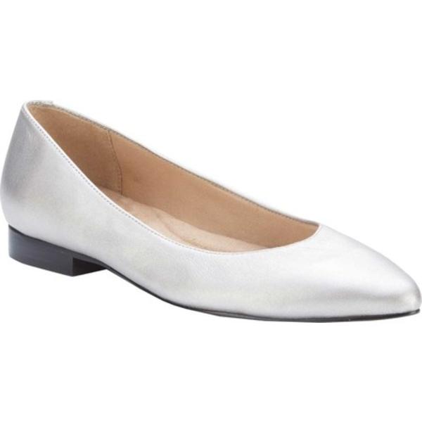 ウォーキング クレイドル レディース サンダル シューズ Reece Pointed Toe Flat Soft Silver Metallic Leather
