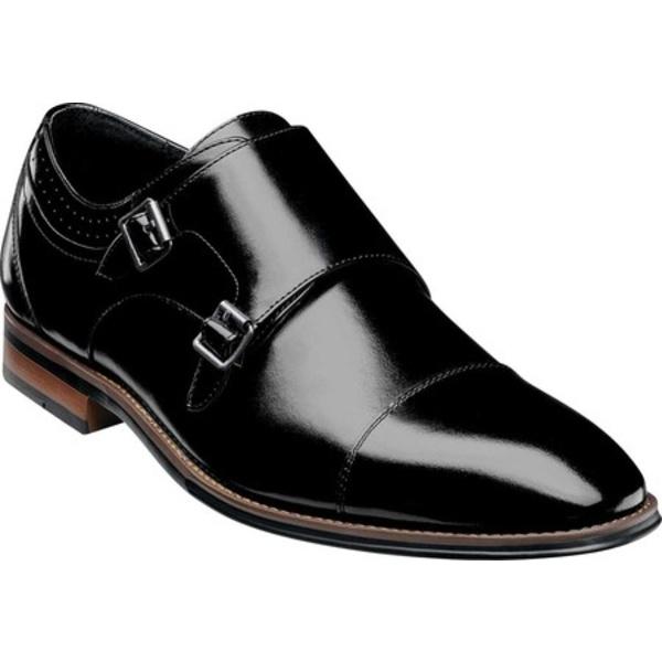 ステイシーアダムス メンズ ドレスシューズ シューズ Bayne Cap Toe Double Monkstrap Black Burnished Leather