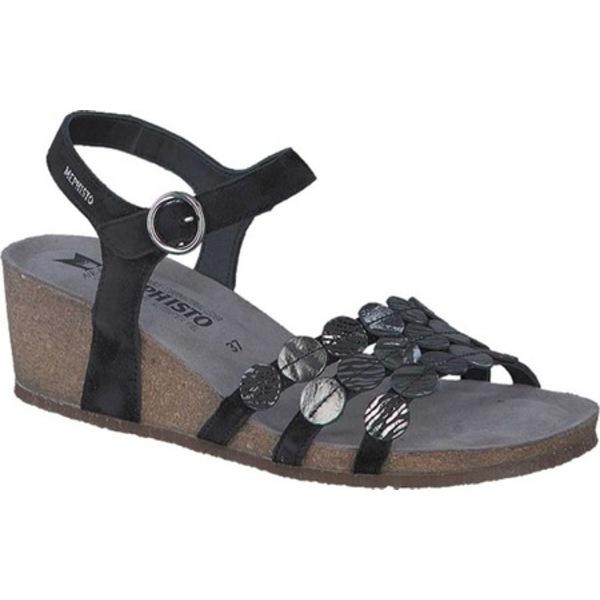 メフィスト レディース サンダル シューズ Matilde Wedge Sandal Black Velc Leather