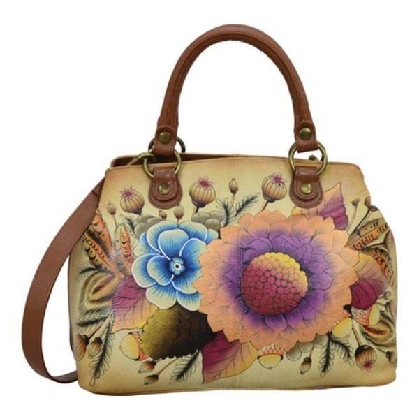アンナバイアナシュカ レディース ハンドバッグ バッグ Hand Painted Leather Compartment Satchel 8392 Rustic Bouquet