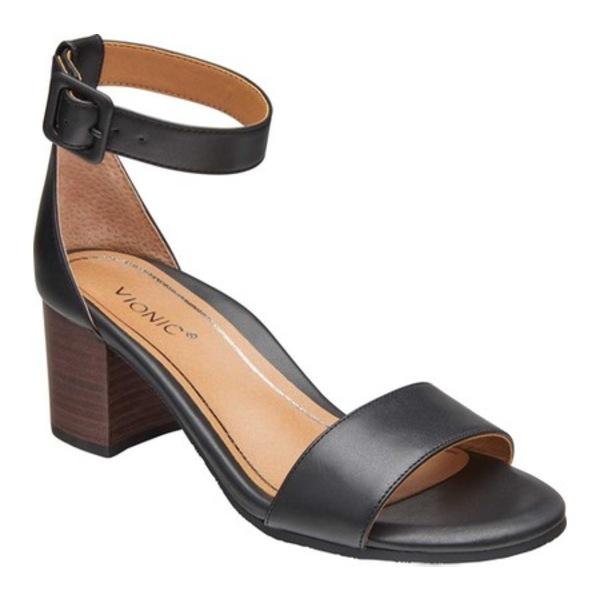 バイオニック レディース サンダル シューズ Rosie Ankle Strap Sandal Black Leather
