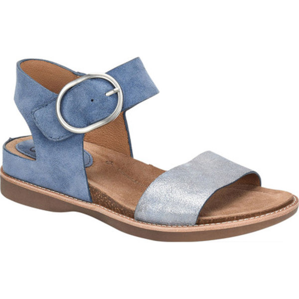 ソフト レディース サンダル シューズ Bali Ankle Strap Sandal French Blue/Blue Suede/Metallic Leather