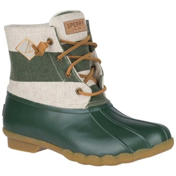 トップサイダー レディース スニーカー シューズ Saltwater Duck Boot Oat/Green Varsity Stripe Wool